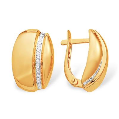 Золотые серьги с фианитовой дорожкой