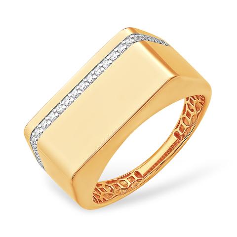 Кольцо из золота с фианитами для мужчин