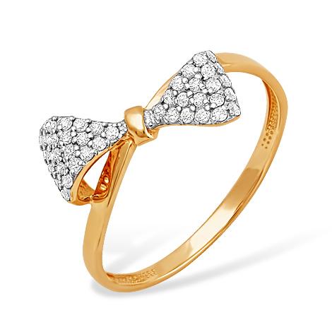 """Кольцо """"бантик"""" из красного золота с фианитами"""