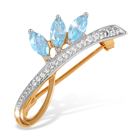 Золотая брошка с голубыми и белыми фианитами