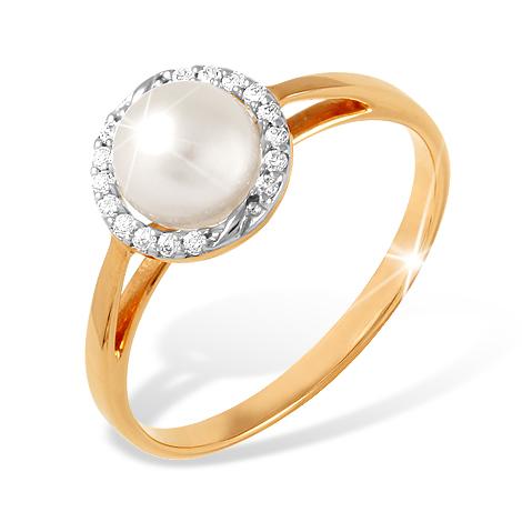 Кольцо с жемчугом в обрамлении из фианитов