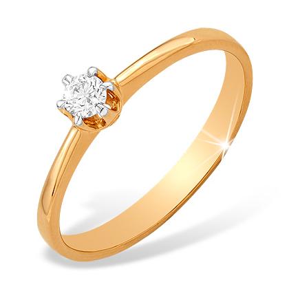 Кольцо из красного золота для помолвки с бриллиантом