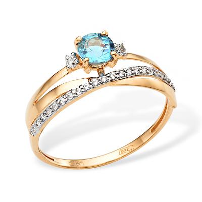Кольцо с голубым топазом и сверкающей дорожкой из белых фианитов