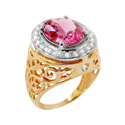 Кольцо из золота с розовым турмалином и бриллиантами