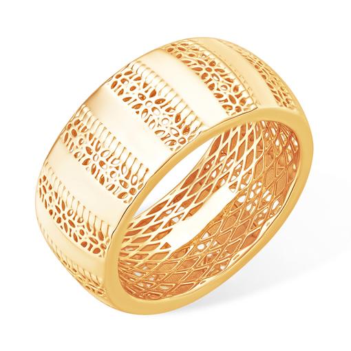 Объёмное и широкое золотое кольцо