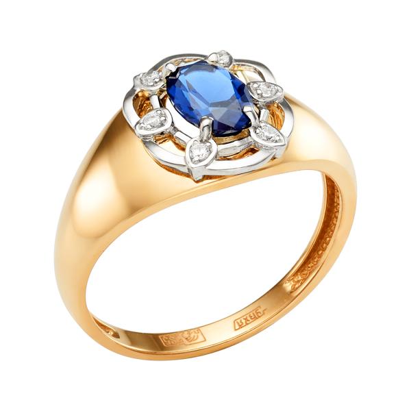 Кольцо из золота с сапфиром и фианитами