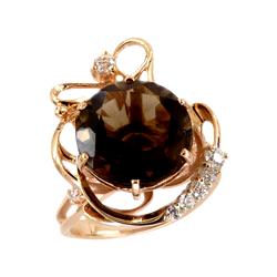 Золотое кольцо с крупным раух-топазом и фианитами