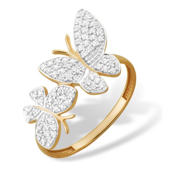 """Золотое кольцо """"бабочки"""" с фианитами"""