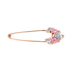 Брошь-булавка из золота с розовыми и голубыми фианитами