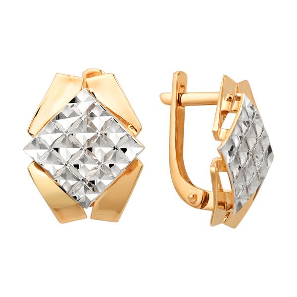Золотые серьги ромбовидной формы с алмазной гранью