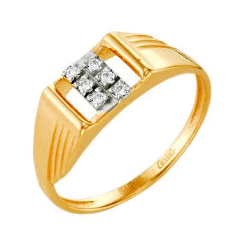 Мужское кольцо из золота с фианитами