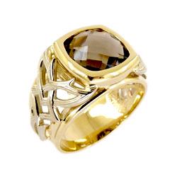 Мужская печатка из желтого золота с раух-топазом