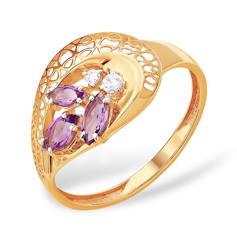 Лёгкое кольцо с тремя аметистами