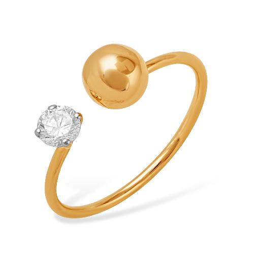 Кольцо в стиле Диор из золота с фианитом