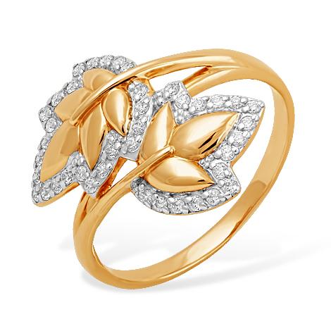 """Золотое кольцо """"листики"""" с фианитами"""