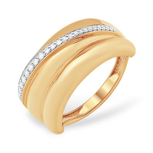 Объёмное кольцо с дорожкой из фианитов