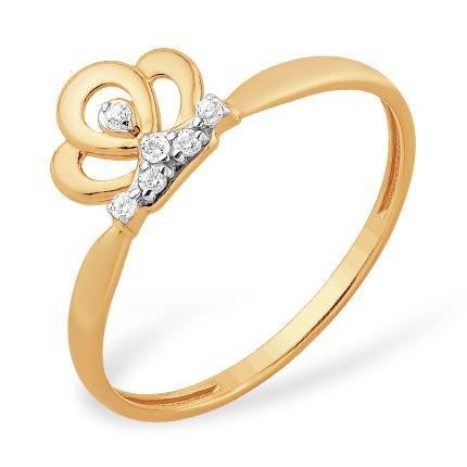 Кольцо для принцессы из золота с фианитами