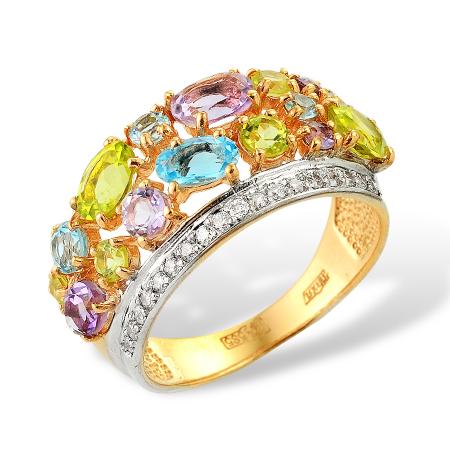 Золотое кольцо с хризолитами, аметистами, топазами и фианитами