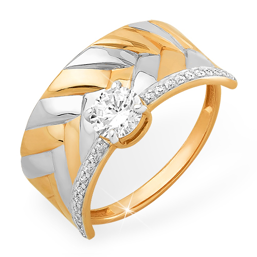 Объемное золотое кольцо с кристаллом Swarovski и фианитами