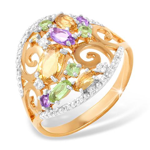 Золотое кольцо с аметистами, хризолитами, цитринами и фианитами