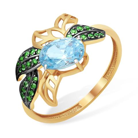 """Кольцо """"листья"""" с голубым и зелёными фианитами"""