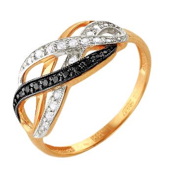 Золотое кольцо с белыми и черными фианитами