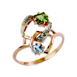 Кольцо из золота с хризолитом, топазом и фианитом