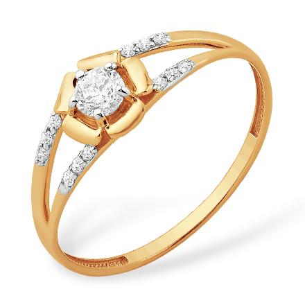 """Легкое золотое кольцо """"цветок"""" с кристаллом Swarovski и фианитами"""