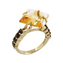 Кольцо из золота с цитрином и раух-топазами
