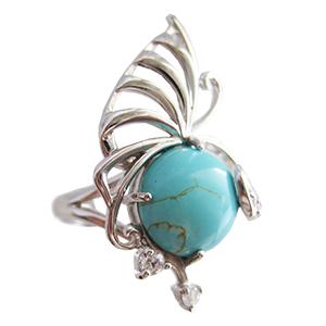 Кольцо из серебра с бирюзой и фианитами