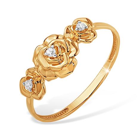 """Кольцо """"розы"""" из золота с фианитами"""