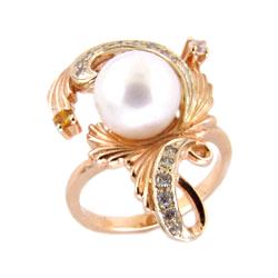 Кольцо из золота с жемчугом, цитрином и фианитами