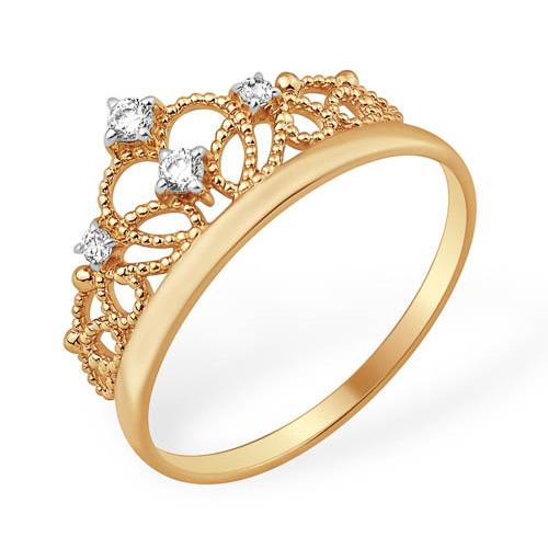 Лёгкое кольцо корона с фианитами