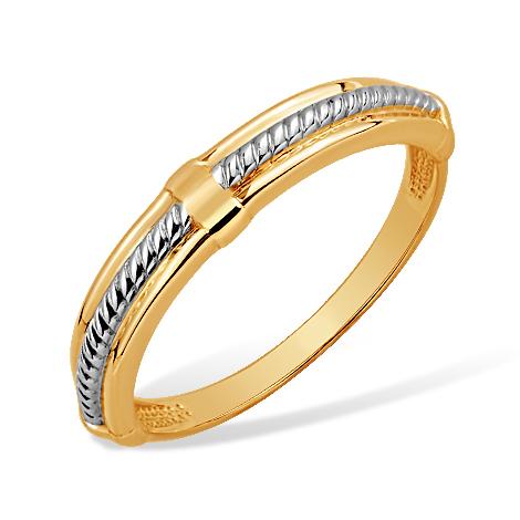 """Кольцо """"канат"""" из комбинированного золота"""