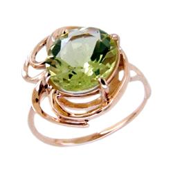 Кольцо из золота с зеленым фианитом