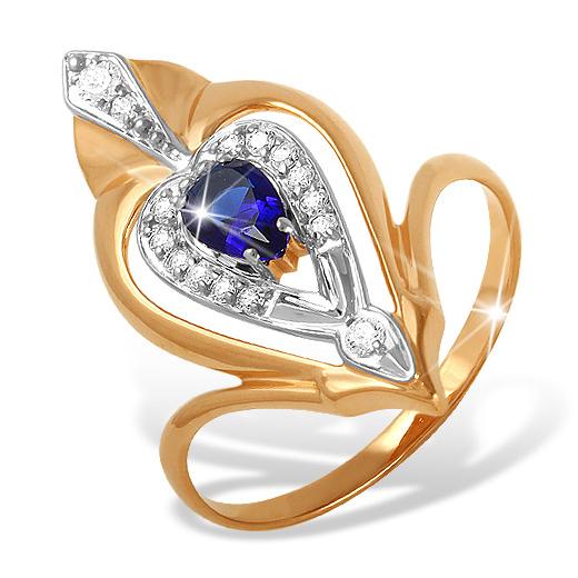 Крупное кольцо с синим и белыми фианитами