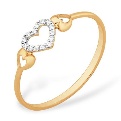 """Кольцо для любимой """"сердечки"""" из золота с фианитами"""