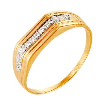 Мужское кольцо из красного золота с фианитами