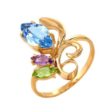 Золотое кольцо с топазом, аметистом и хризолитом