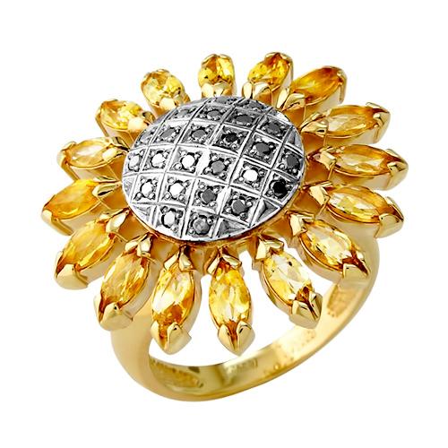 """Кольцо """"подсолнух"""" из золота с черными бриллиантами и цитринами"""