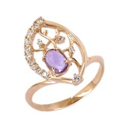 Кольцо из золота с аметистом и фианитами