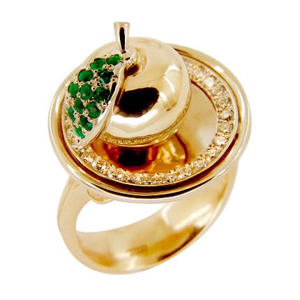 """Кольцо """"яблочко"""" из золота с бриллиантами и изумрудами"""