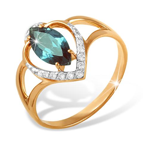 Кольцо из золота с ситалл Лондоном и фианитами