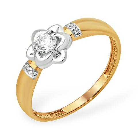 Кольцо из золота в виде цветка с кристаллом Swarovski и фианитами