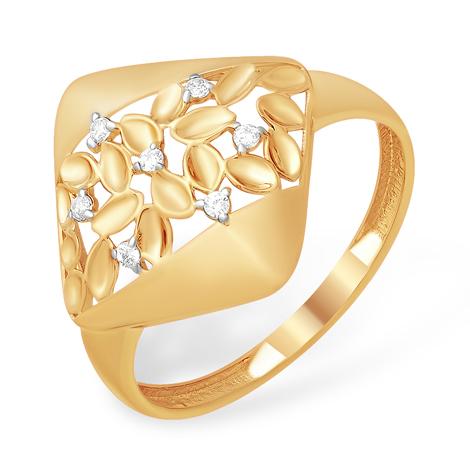 Ромбовидной формы кольцо с алмазной гранью и фианитами