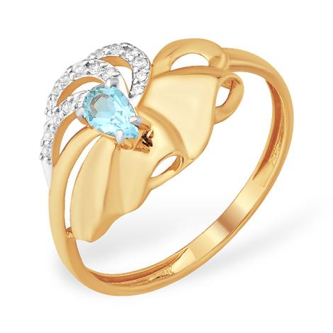 Кольцо с голубым топазом и фианитами